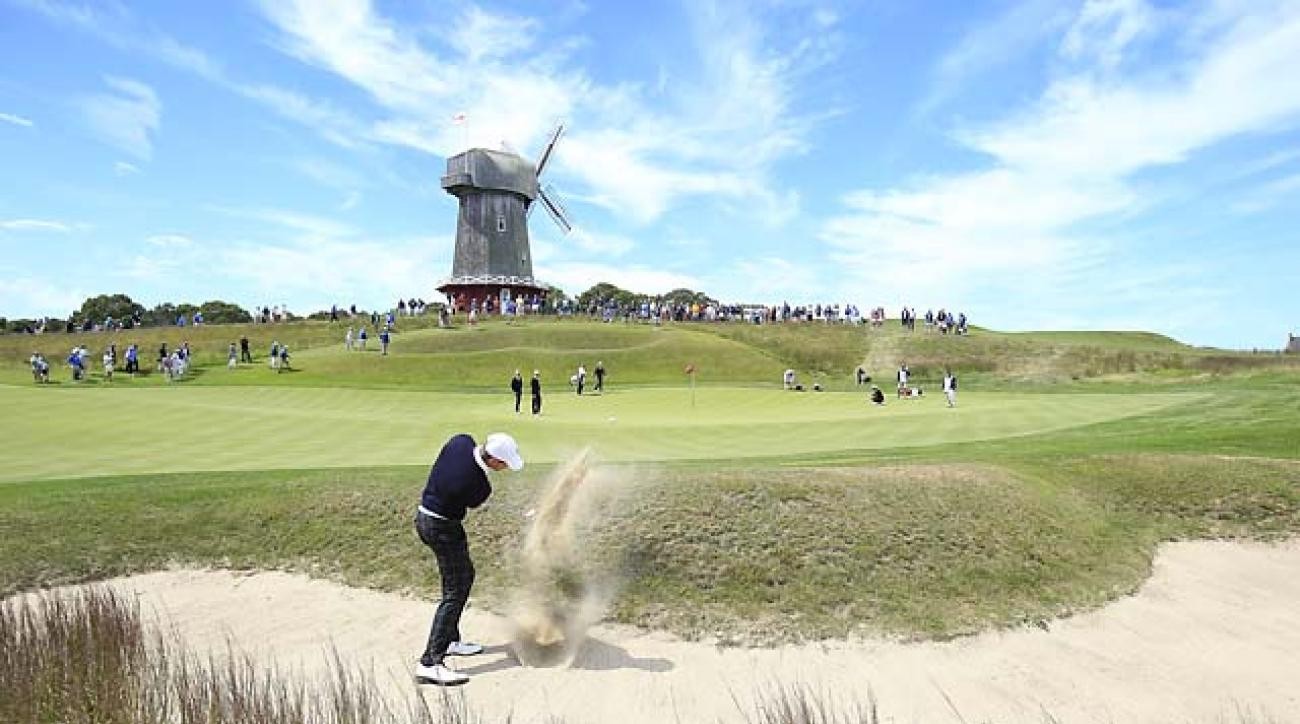 Max Homa hits from a bunker on the 16th hole at the 2013 Walker Cup at National Golf Links of America.