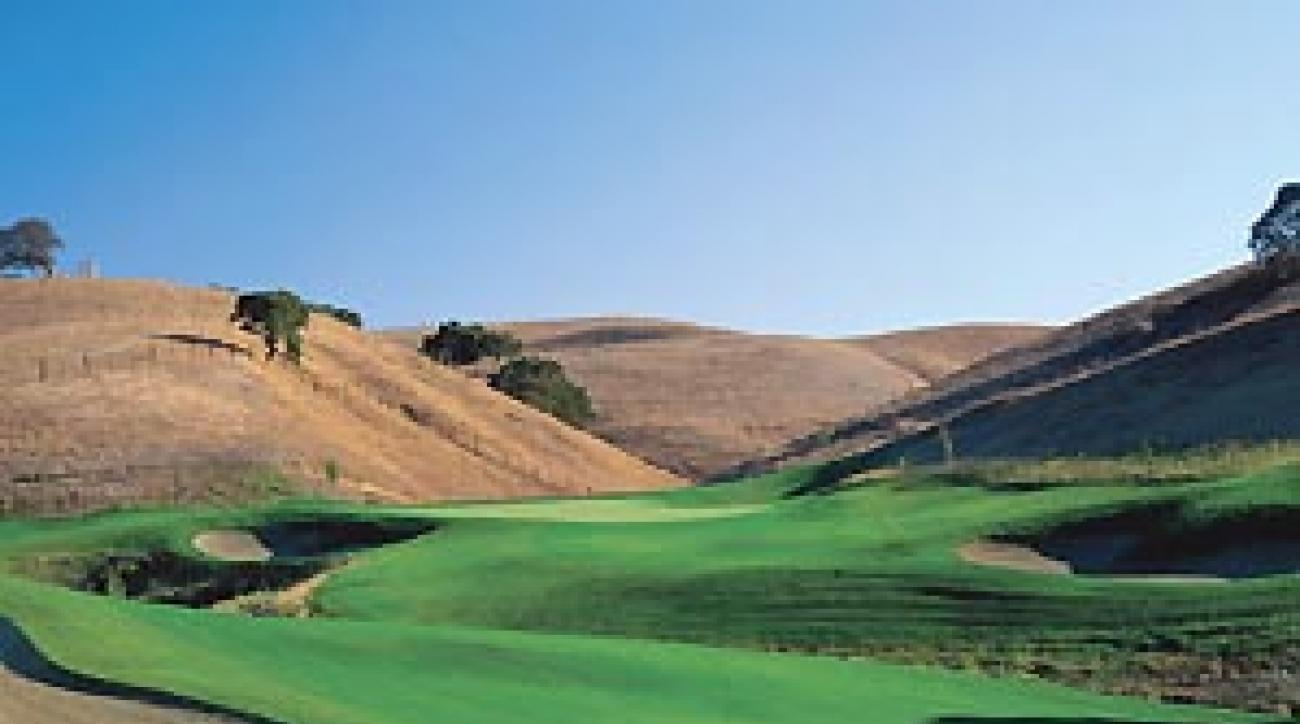 """The finishing hole at Callippe Preserve is a punishing 573-yard par 3. <span class=""""picturesource"""">John & Jeannine Henebry</span>"""