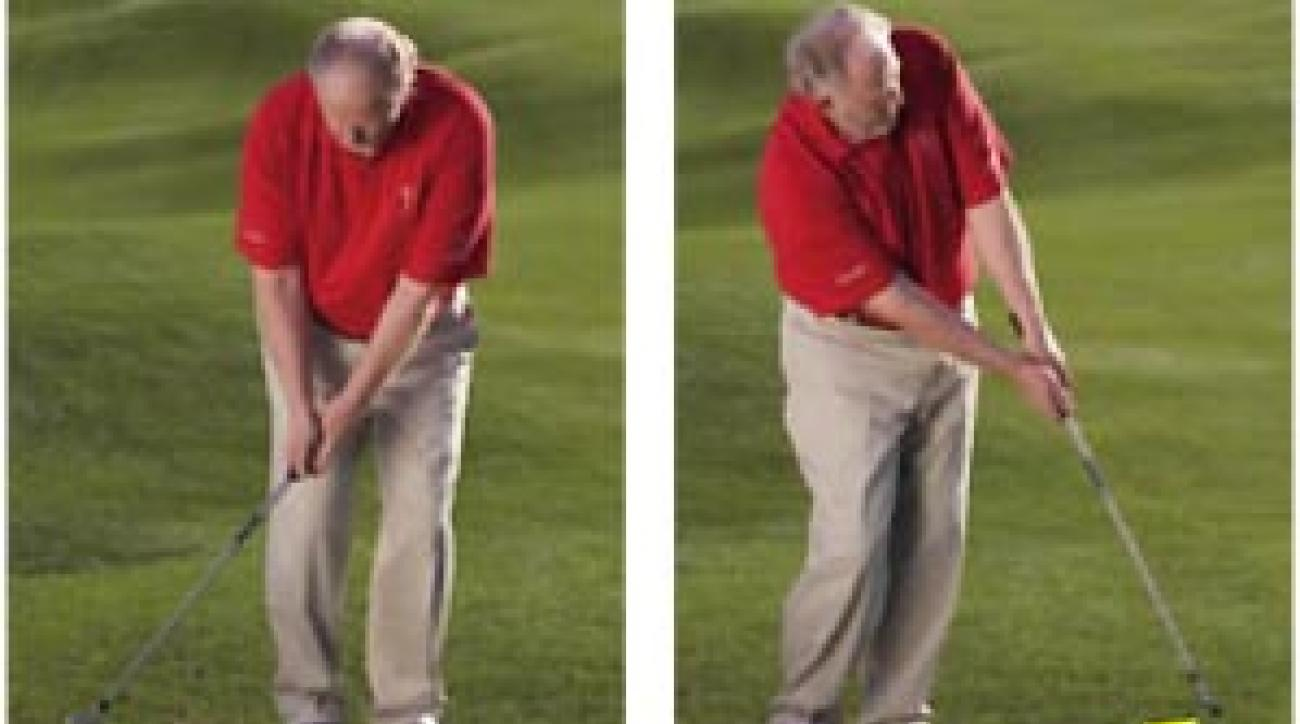 Make a shorter backswing, then accelerate through to chip in more.