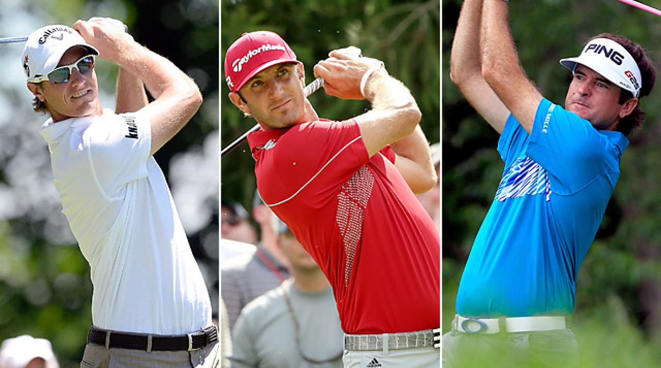 Nicolas Colsaerts (left), Dustin Johnson (center), and Bubba Watson are among the longest drivers on Tour.