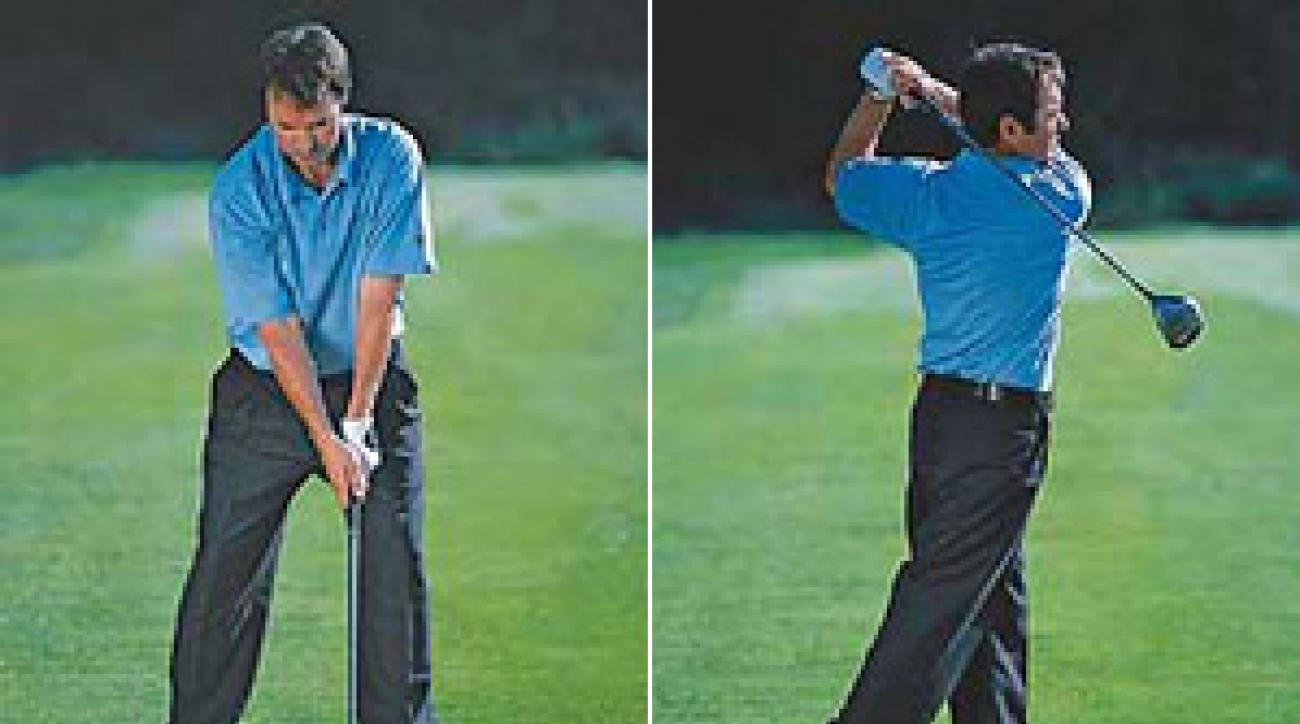 Shift your upper body over the ball, and finish with your lower back straight.