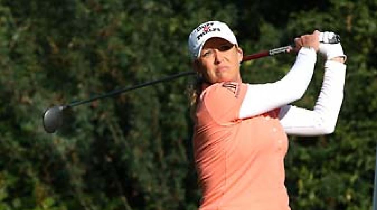 Cristie Kerr hits her tee shot on the sixth hole of Royal Mayfair Golf Club in Edmonton, Alberta, at the Canadian Open on Friday. Kerr is tied for the lead with Inbee Park after 36 holes.