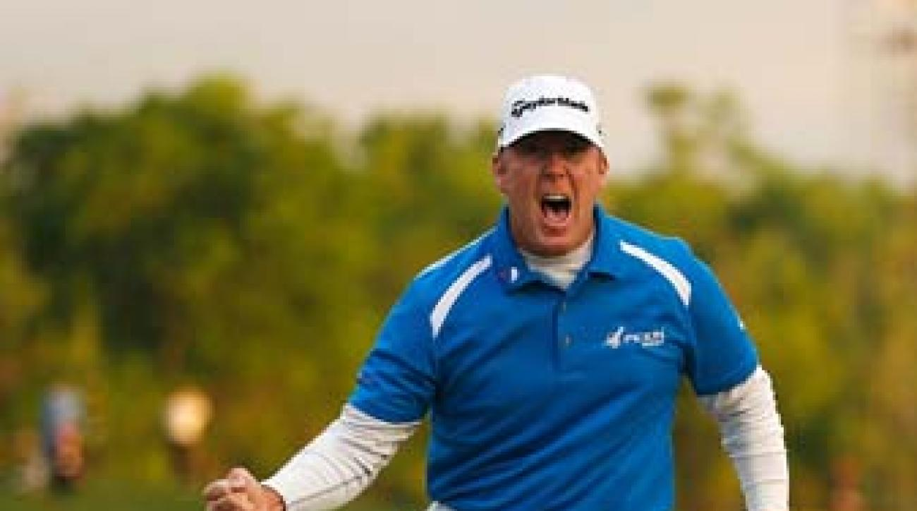 D.A. Points celebrates Sunday after making an eight-foot putt to seal the Shell Houston Open.