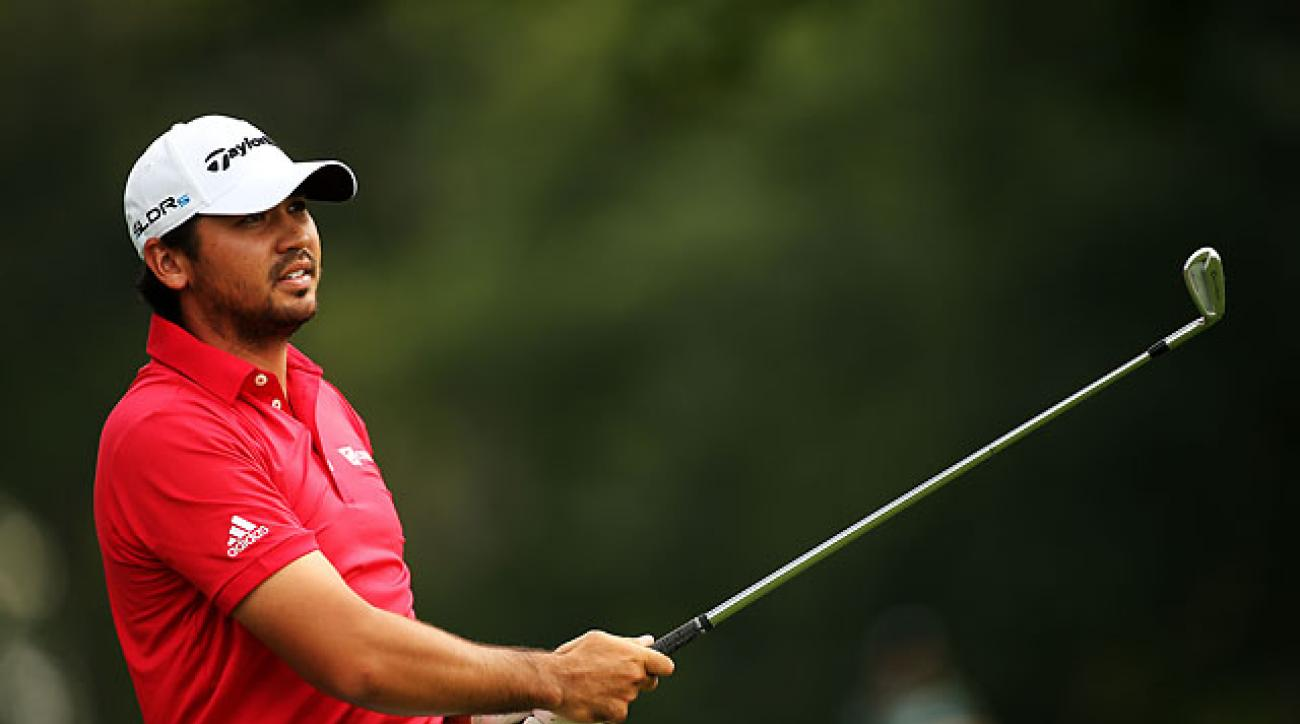 Jason Day plays a shot on the 6th hole during the third round of The Barclays at Ridgewood Country Club on Saturday.