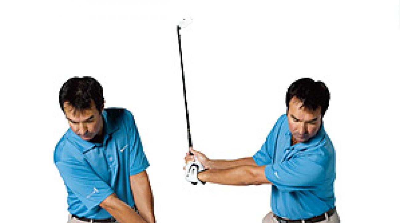 Sling your arms and club forward first then back like you do on your regular takeaway.