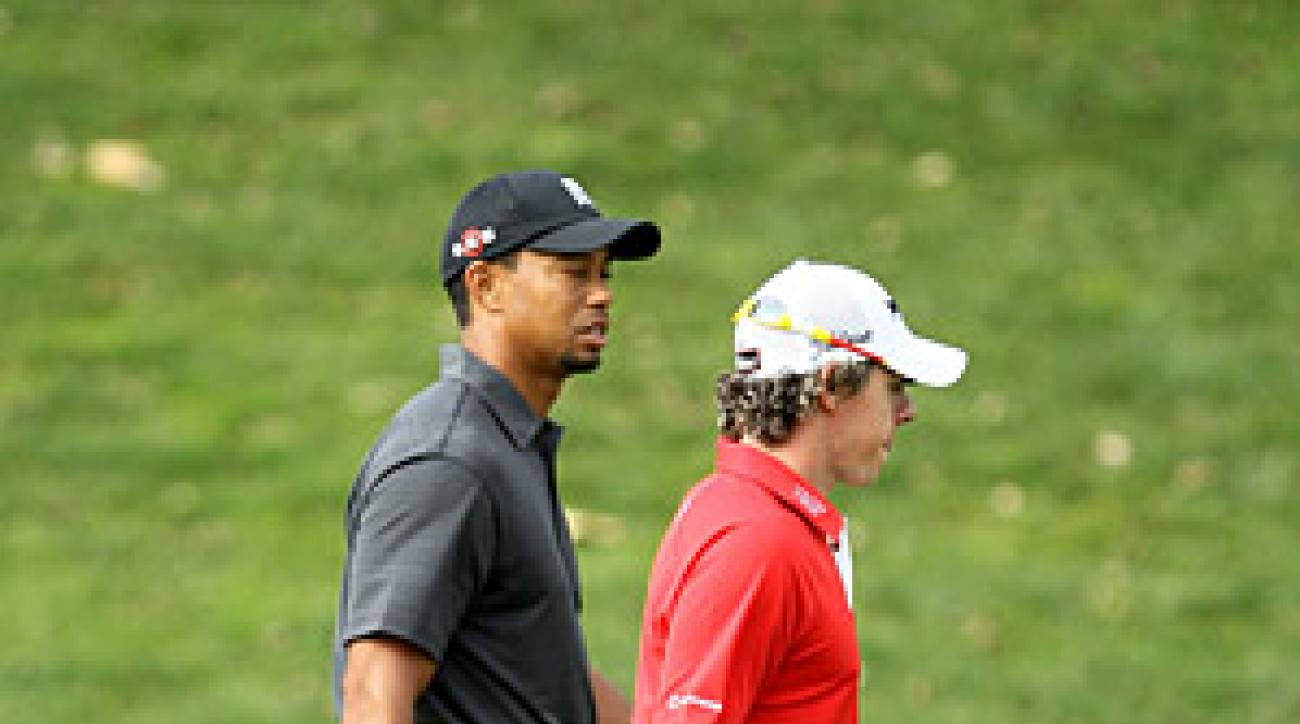 Rory McIlroy and Tiger Woods were paired together in competition for the first time Friday at the Chevron World Challenge.
