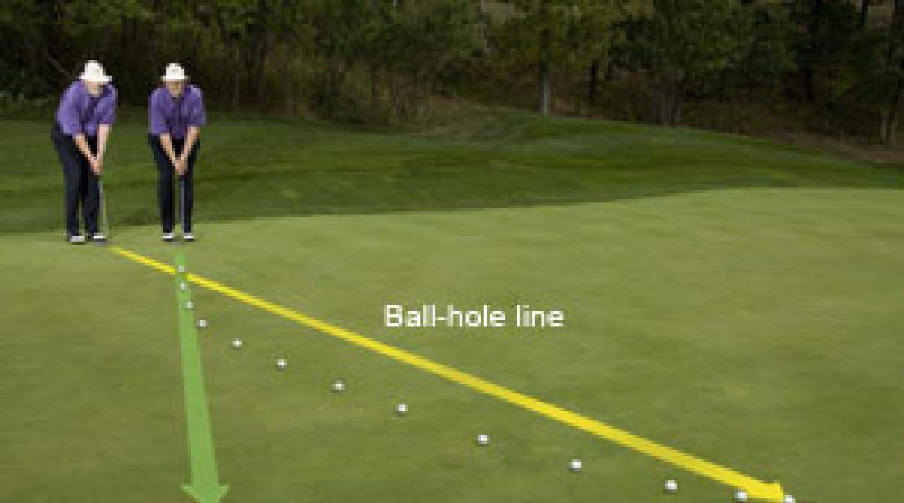 """To make sure you read fast,                 breaking putts like this one                 correctly, visualize the ball                 tracking backward from                 behind the hole first, then use                 the AimLine  to accurately                 """"see"""" the start line and break."""