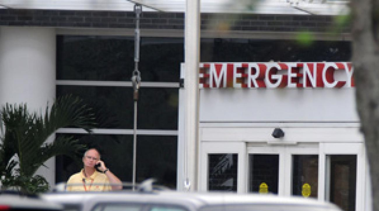 Security was in front of the emergency room at Health Central Hospital in Orlando where Tiger Woods' mother-in-law was admitted early Tuesday morning.