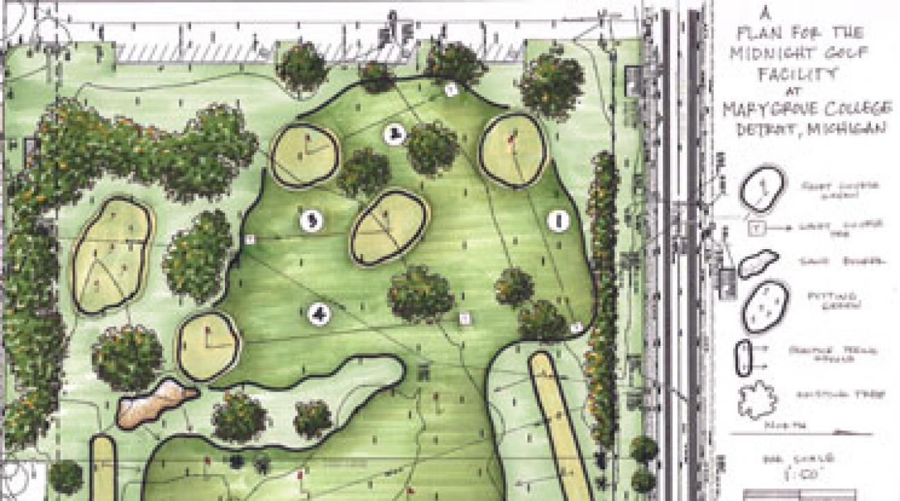 "The preliminary plan for the Midnight Golf facility calls for a 16-bay driving range; a short-game practice area, including a bunker and a green; and four short practice holes with grass greens. <a href=""http://www.golf.com/golf/i/tours/2010/02/doak-routing-detroit2_660x410.jpg""><strong>View full size</strong></a>"