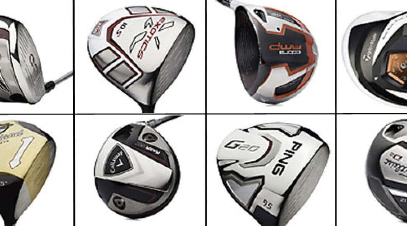 (Clockwise from top left) Nike VR_S, Tour Edge Exotics XCG-5, Cobra AMP, TaylorMade R11S, Titleist 910D2, Ping G20, Callaway RAZR Fit, Cleveland Classic.