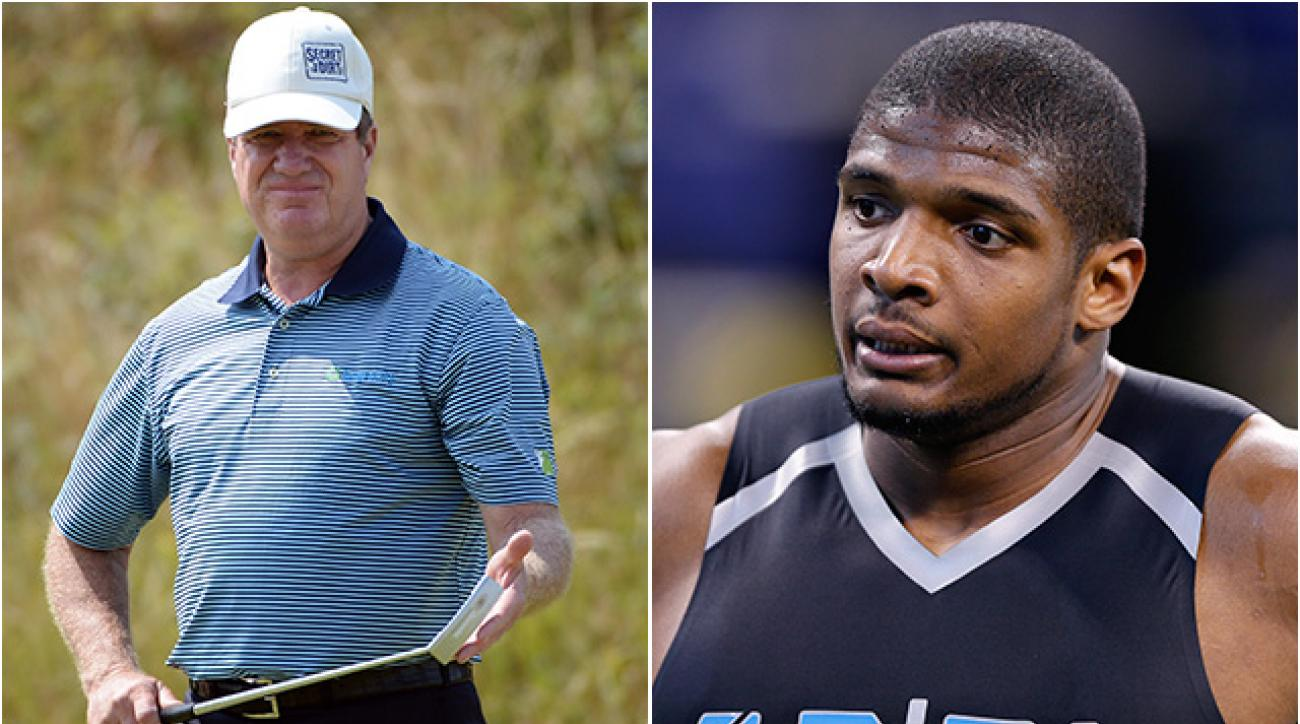 Steve Elkington tweeted offensive remarks about Michael Sam (right), a former Missouri defensive end who is attempting to become the first openly gay player in NFL history.