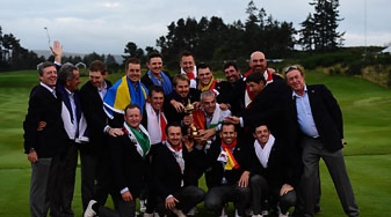 The Europeans celebrate another Ryder Cup victory at Gleneagles.