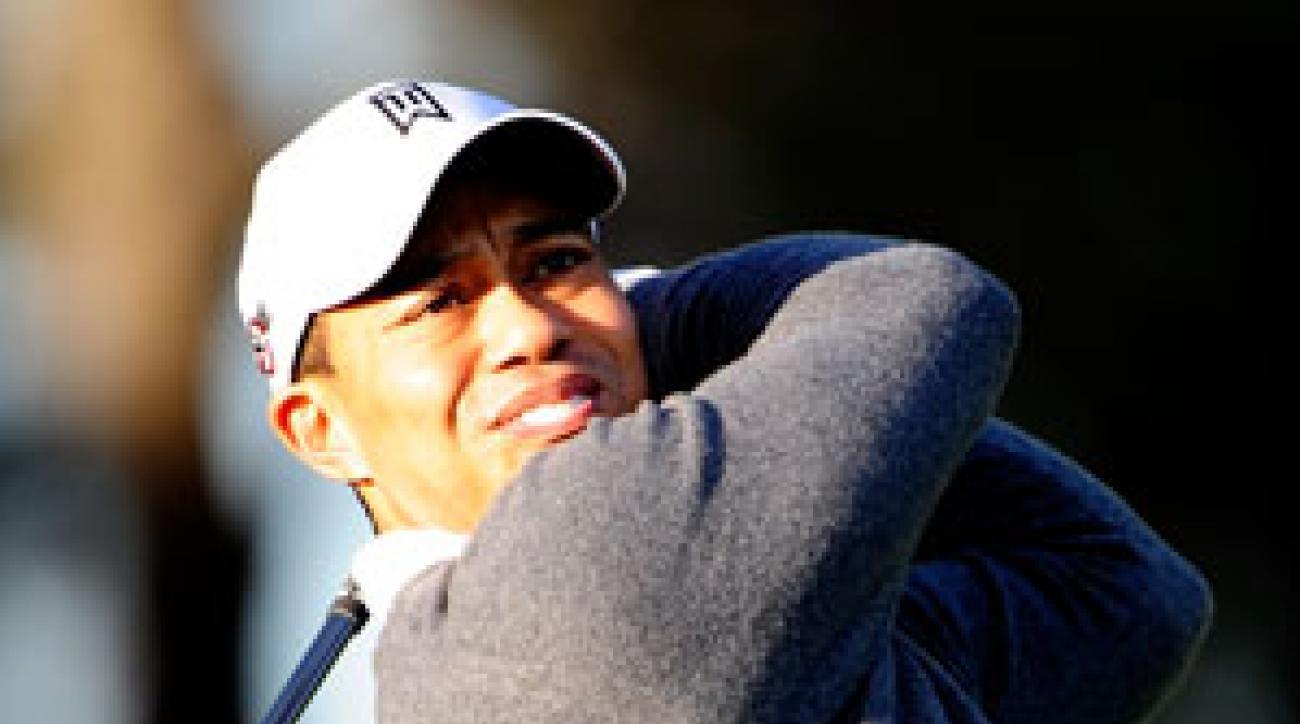 Tiger Woods was seen hitting golf balls on Thursday.