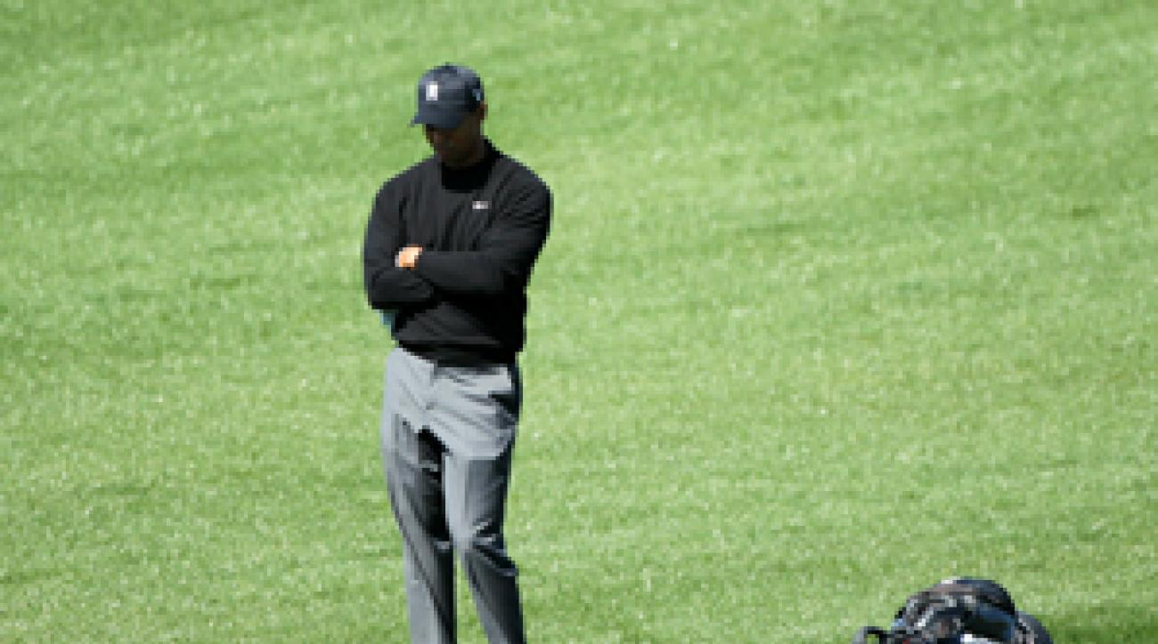 Tiger Woods made a double bogey on the 19th hole to lose the match.