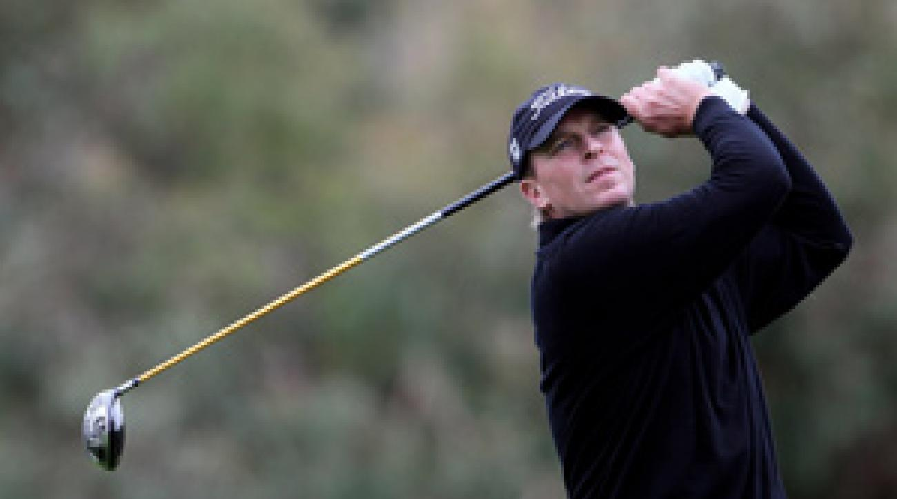 Steve Stricker made four birdies and no bogeys before play was suspended due to darkness.