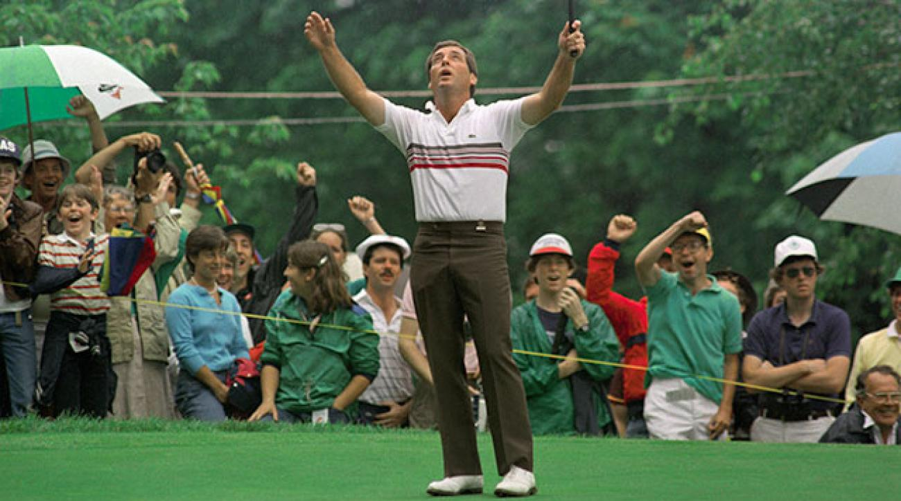 Fuzzy Zoeller celebrates his 68-foot birdie putt on the 2nd hole during the 1984 U.S. Open playoff.