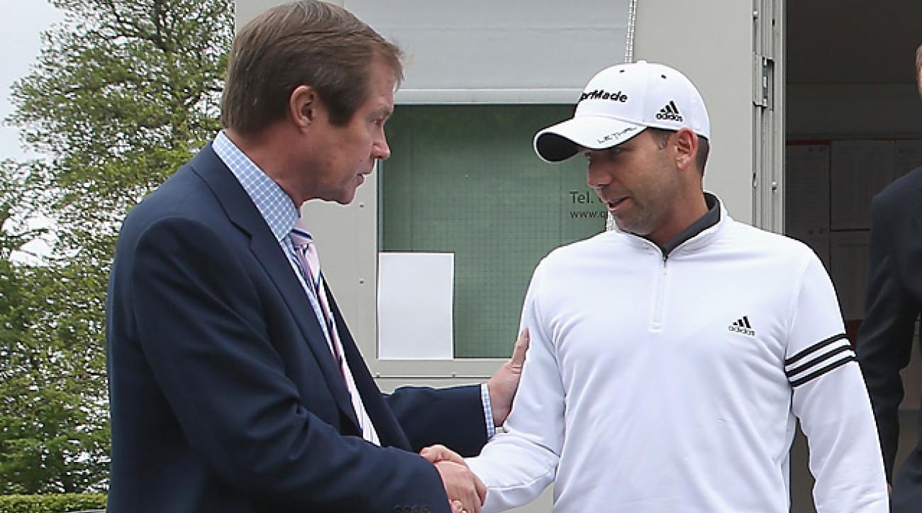 George O'Grady meeting with Sergio Garcia Wednesday at the BMW PGA Championship.
