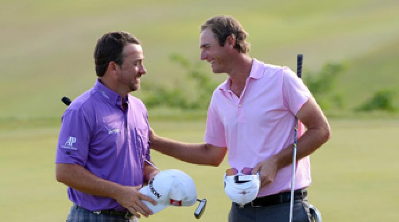 Graeme McDowell, left, defeated Nicolas Colsaerts to reach the semifinals.