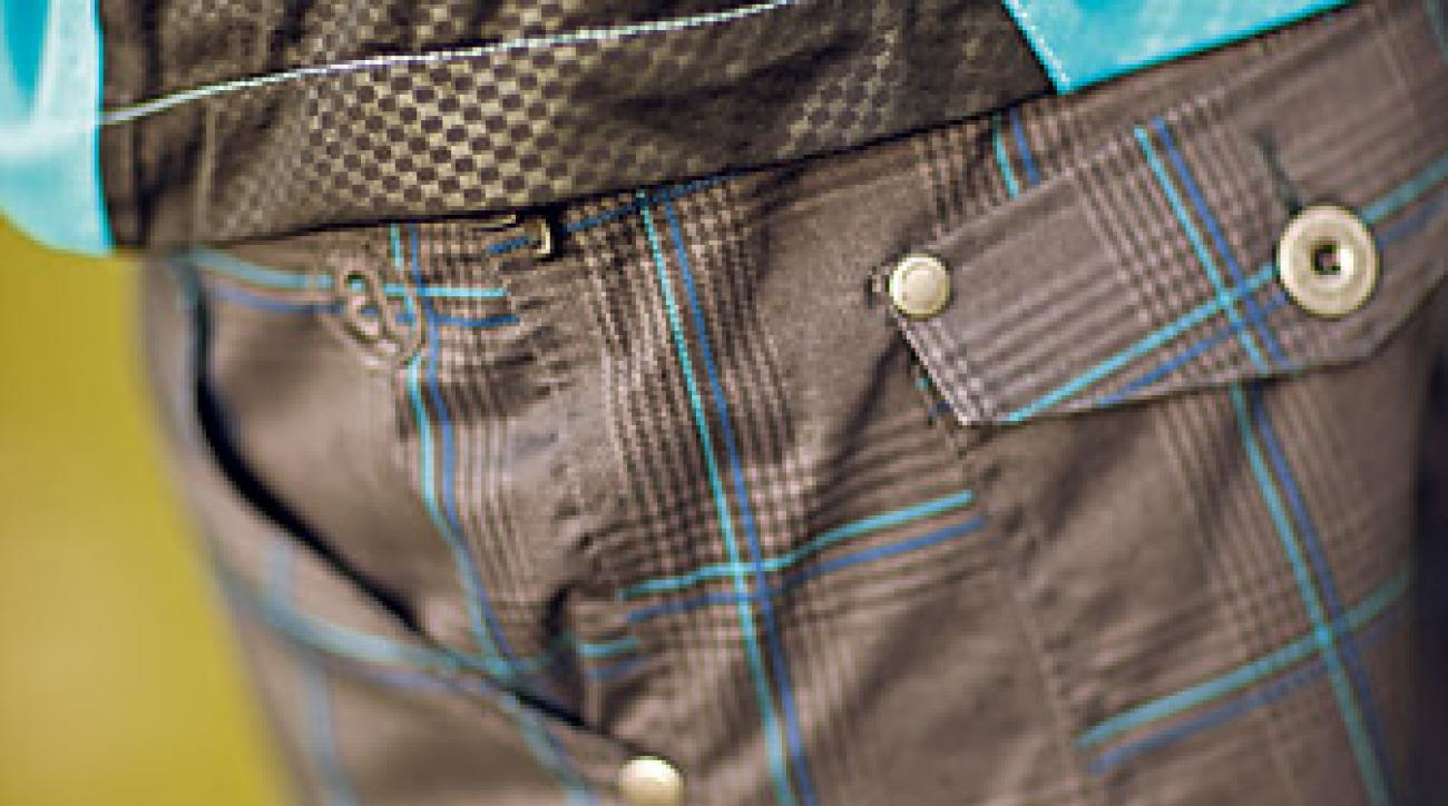 Waterproof, windowpane-check, riveted five-pocket golf jeans from Abacus.