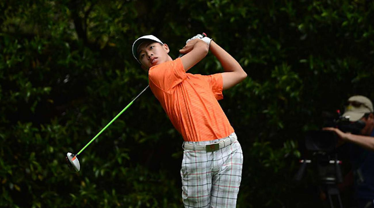 Tianlang Guan finished with a 75 in his first Masters.