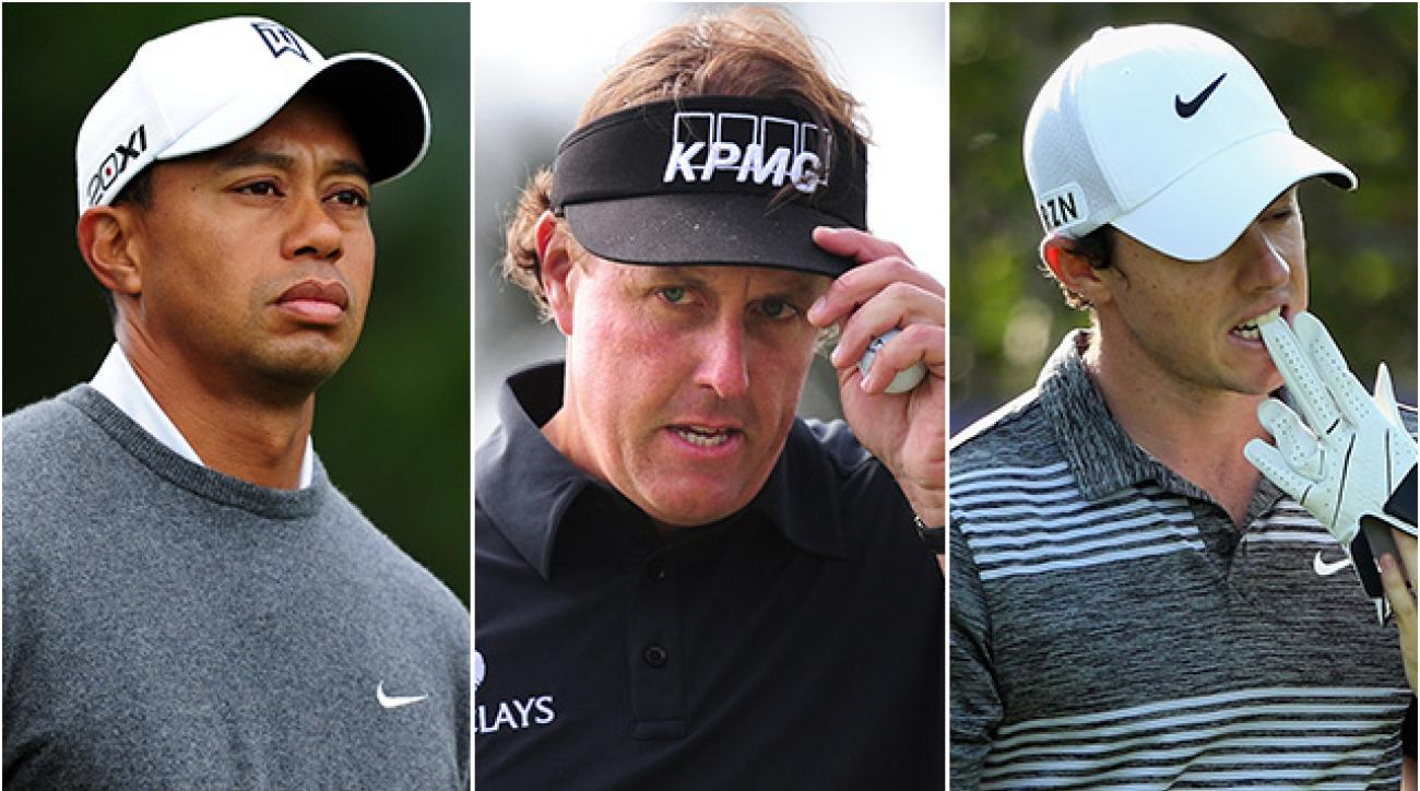 Tiger Woods, Phil Mickelson and Rory McIlroy all stand outside the Top 75 on the PGA Tour Money List this season.