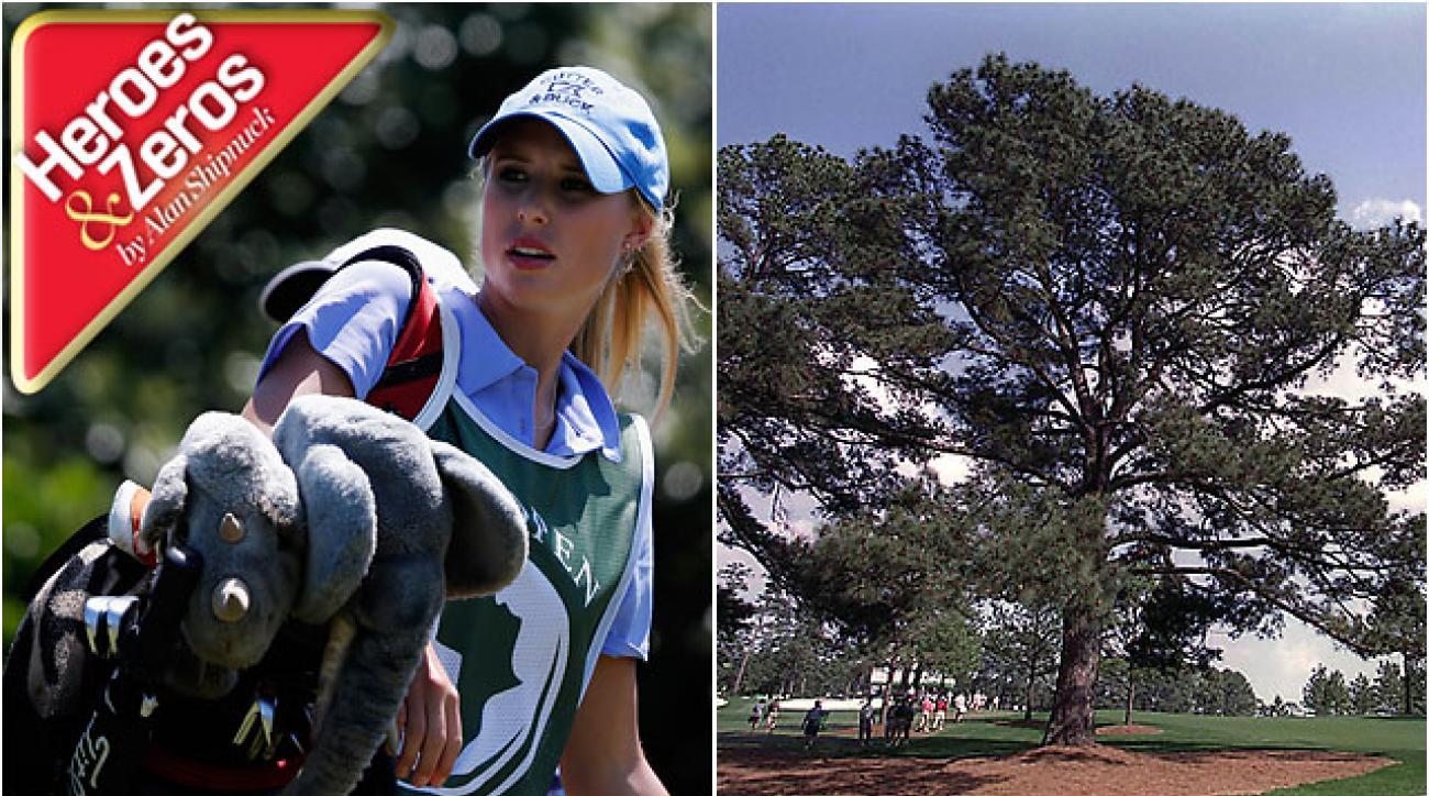 Kate Aiken, caddie for husband Thomas, winner of last week's Africa Open, and Augusta National's Eisenhower Tree, destroyed in last week's ice storm