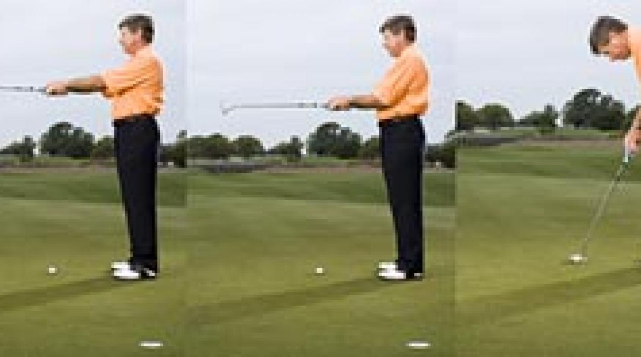 For the proper address, hold your putter straight out, left; draw your elbows into your rib cage, center; then tilt forward.