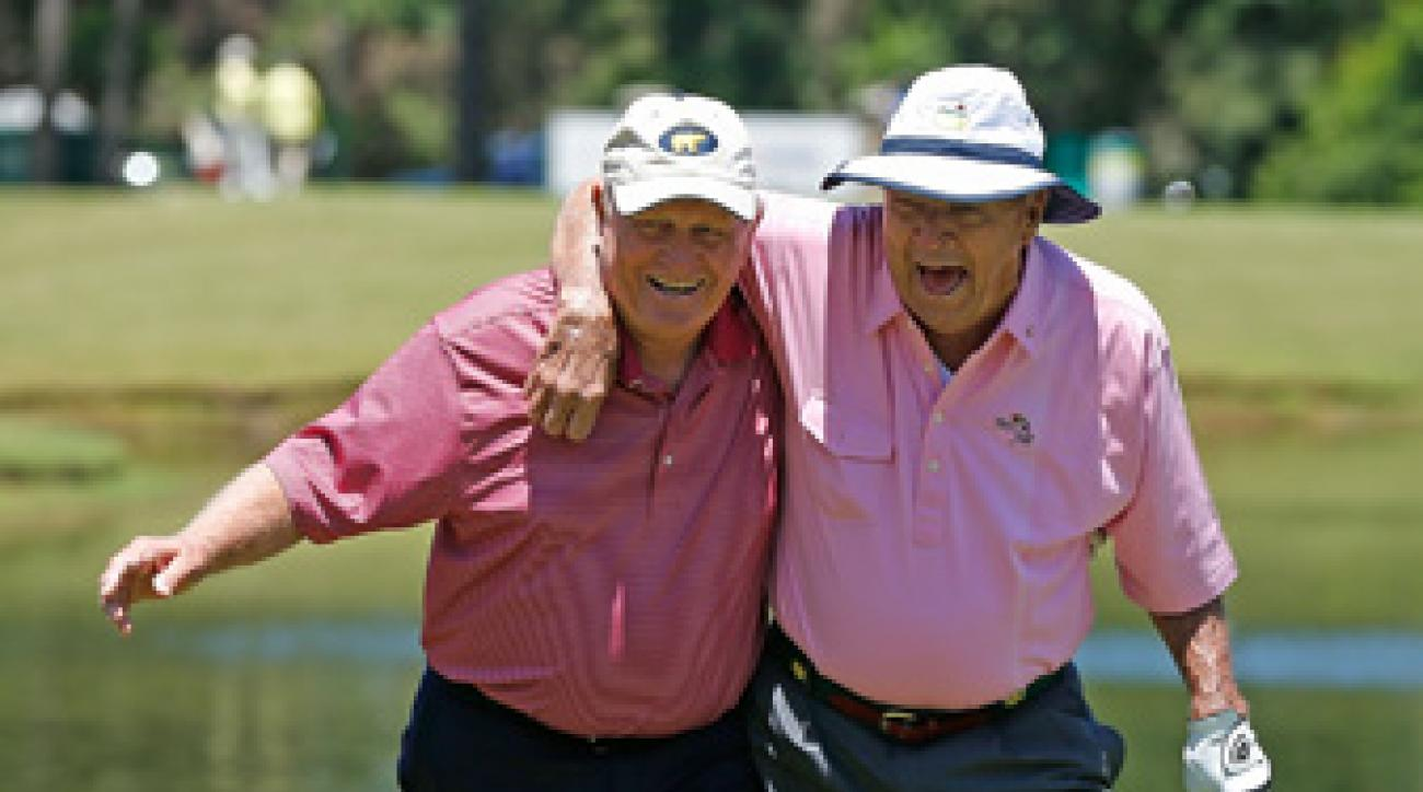 Arnold Palmer, right, and Jack Nicklaus, along with Gary Player, came in second place Saturday during a scramble at the Insperity Championship.