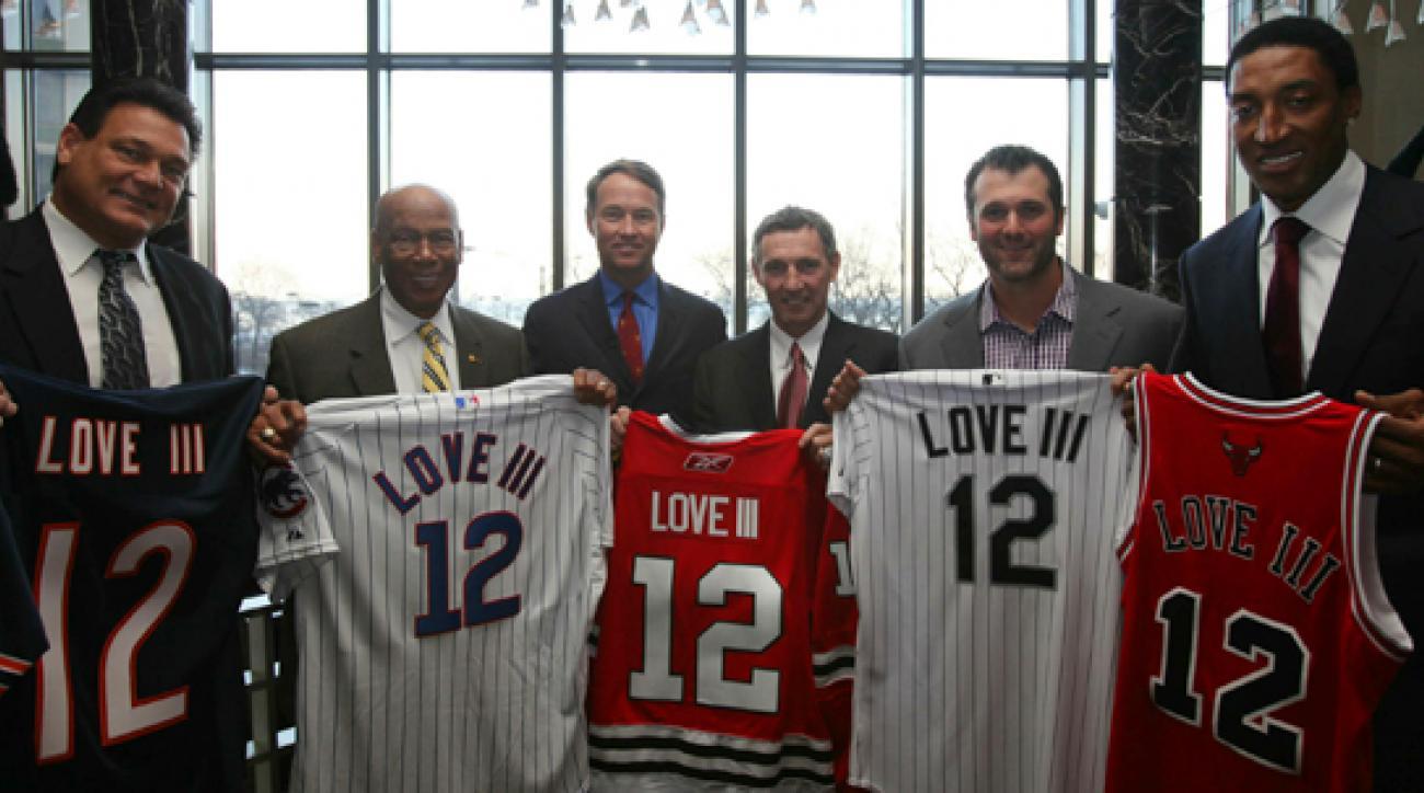 From left to right: Dan Hampton, Ernie Banks, Davis Love III, Denis Savard, Paul Konerko and Scottie Pippen.