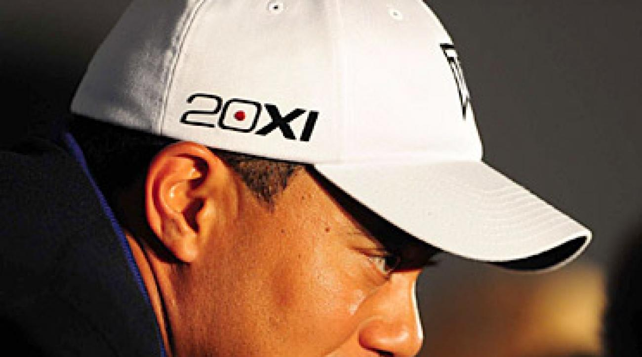Tiger Woods during his press conference on Wednesday at Torrey Pines.