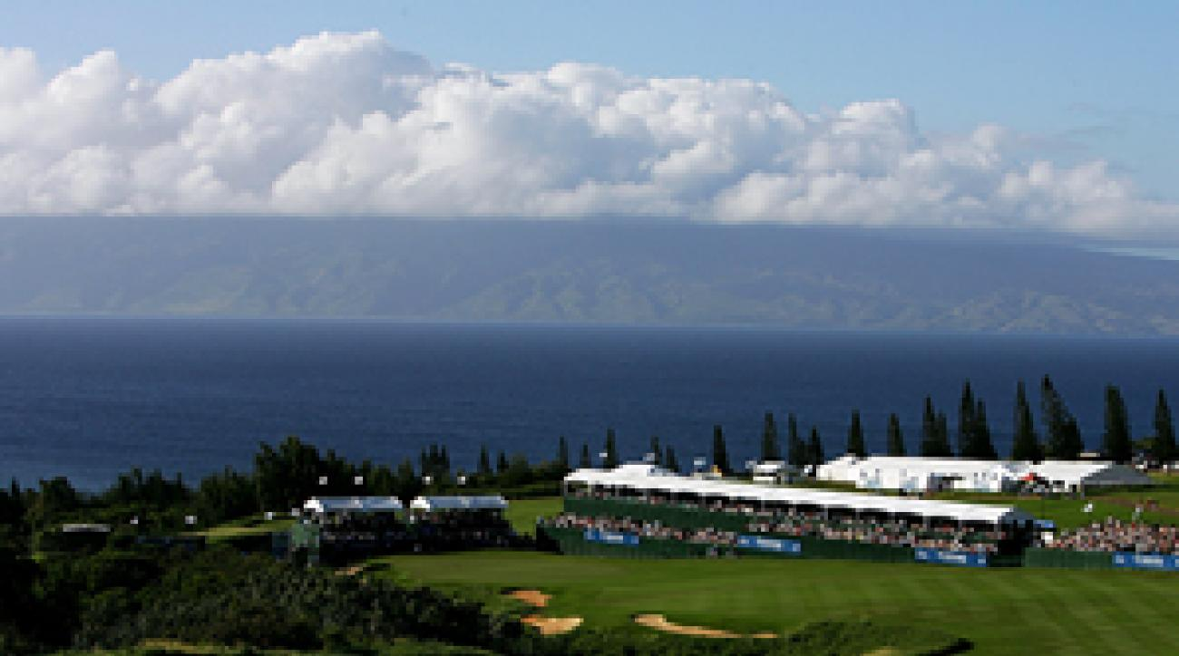 The 18th hole at the Plantation Course in Kapalua, Maui, Hawaii.