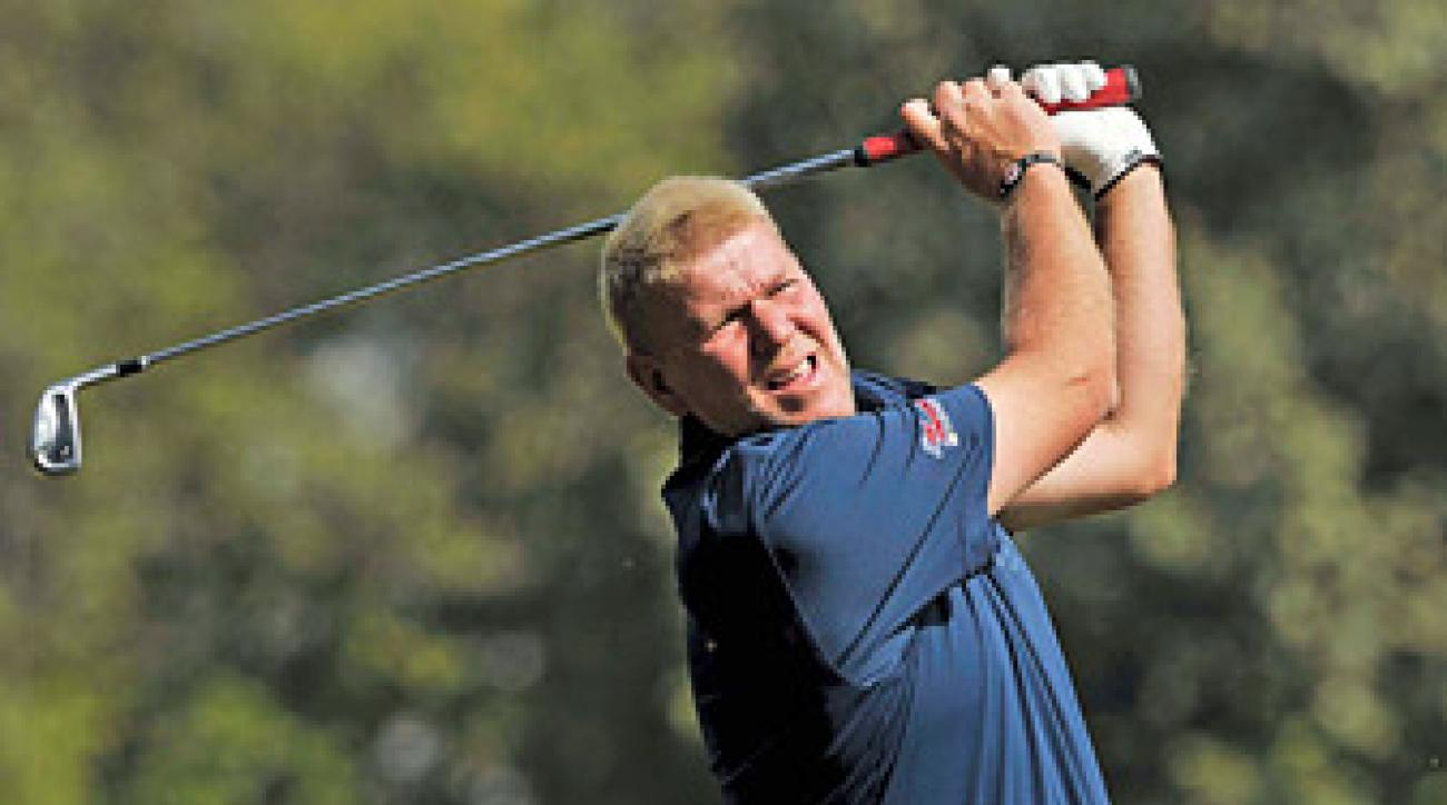 John Daly withdrew from the Avantha Masters after injuring his elbow in the first round.