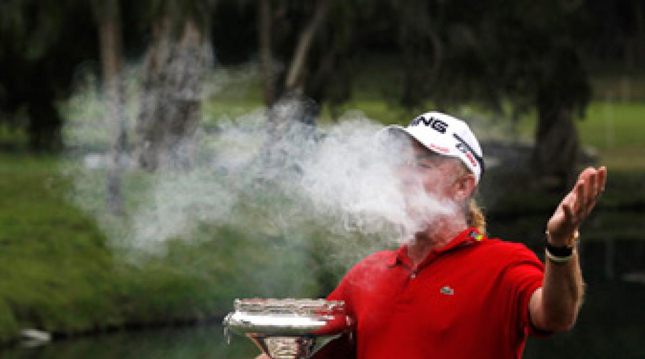 Miguel Angel Jimenez won his third Hong Kong title on Sunday.