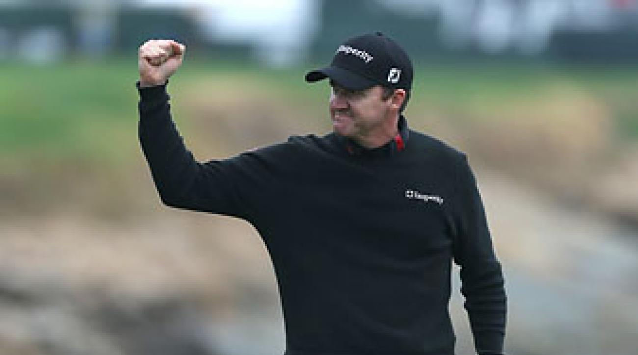 Jimmy Walker celebrates after making the final putt in the final round to win the AT&T Pebble Beach National Pro-Am at the Pebble Beach Golf Links on Sunday.