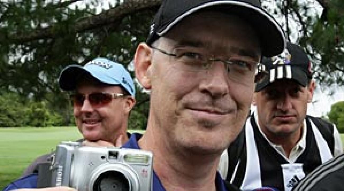 "Brad Clegg, a spectator who tried to take a picture of John Daly at close range, had his camera smashed by the golfer. Asked if he would seek compensation, Clegg said: ""I don't think I'll be chasing him for the money. He's a big bloke!"""