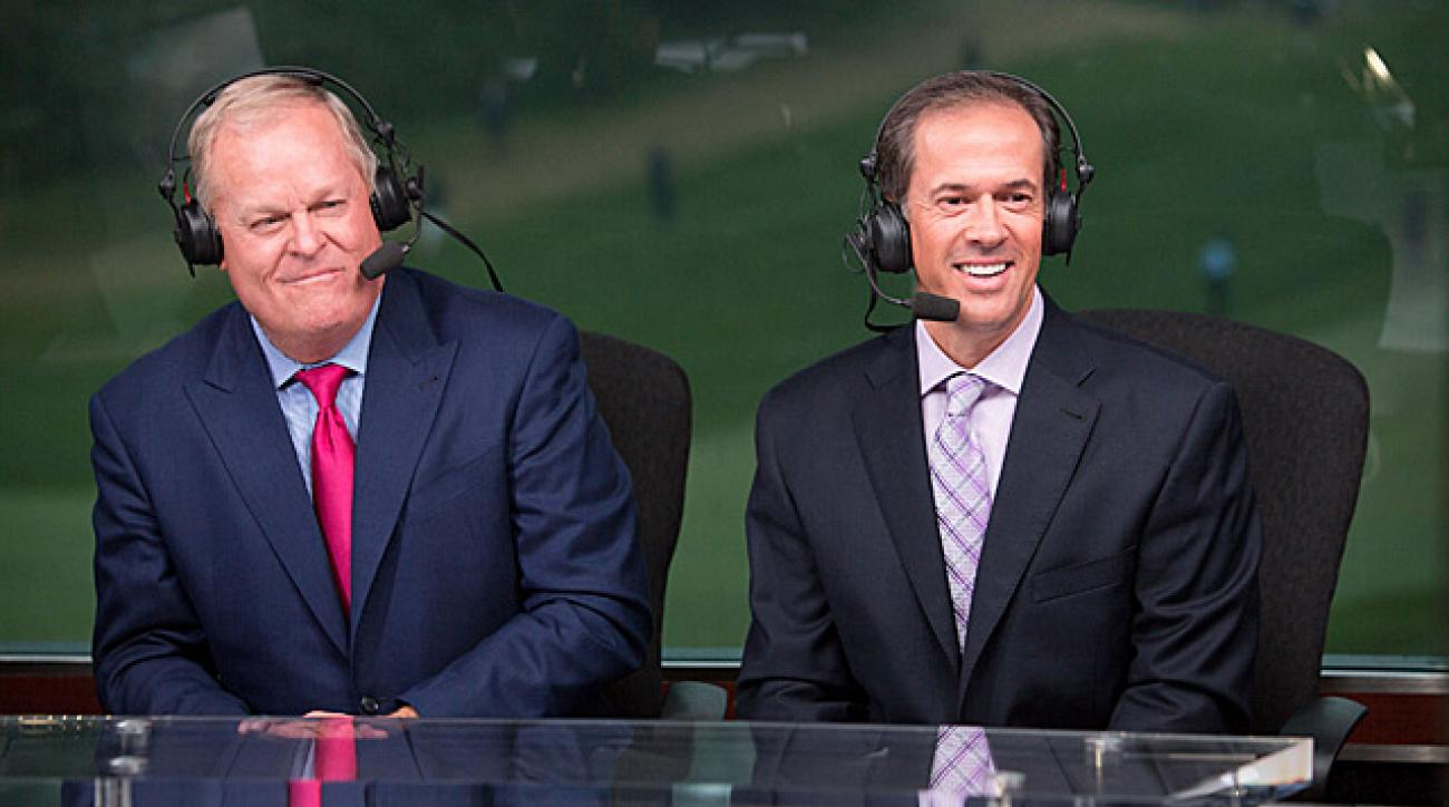 NBC golf broadcasters Johnny Miller (left) and Dan Hicks.