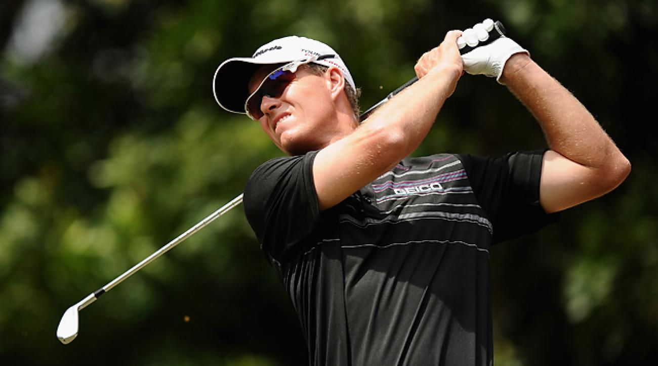 Australia's John Senden tees off on the third hole at Innisbrook on Sunday.
