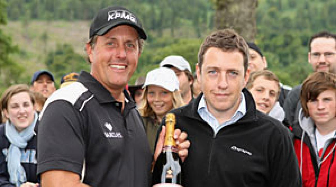 Mickelson earned a bottle of champagne for the hole-in-one.