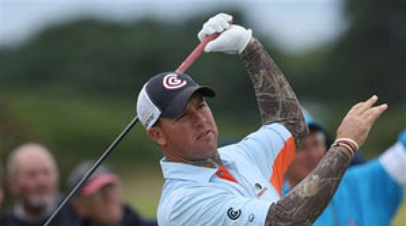 Boo Weekley wore a camouflage-print, long-sleeved shirt under his standard golf polo.