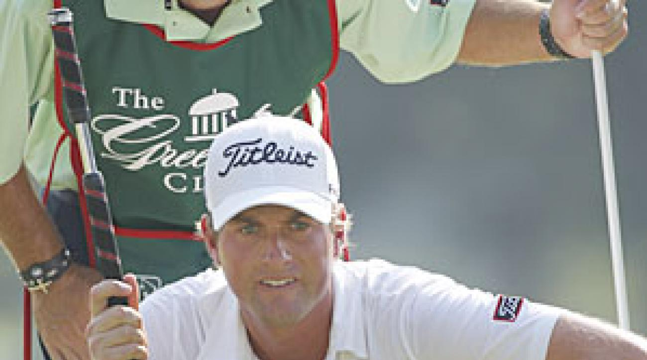 Webb Simpson enters the Tour Championship at the top of the FedEx Cup standings.