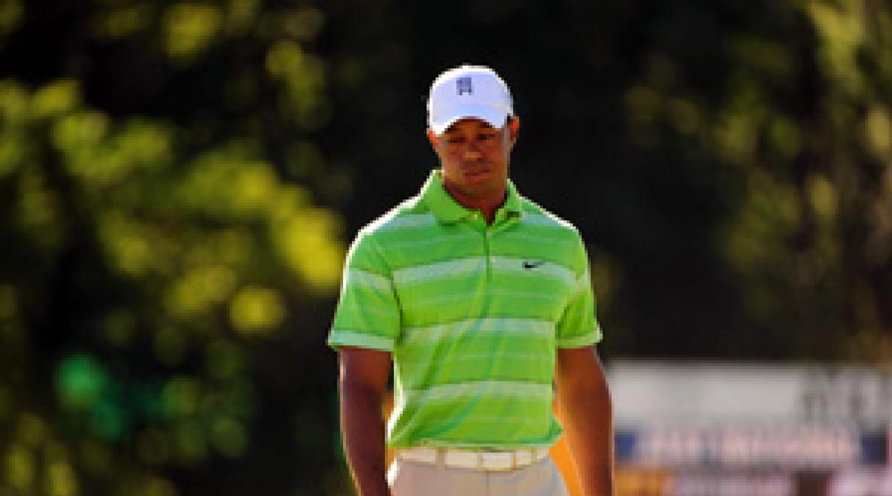 Tiger Woods made four birdies and four bogeys on Friday.