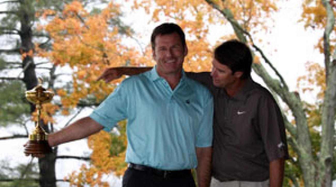 Paul Azinger, right, will captain the U.S. team that will try to reclaim the Ryder Cup trophy from Nick Faldo and the European team.