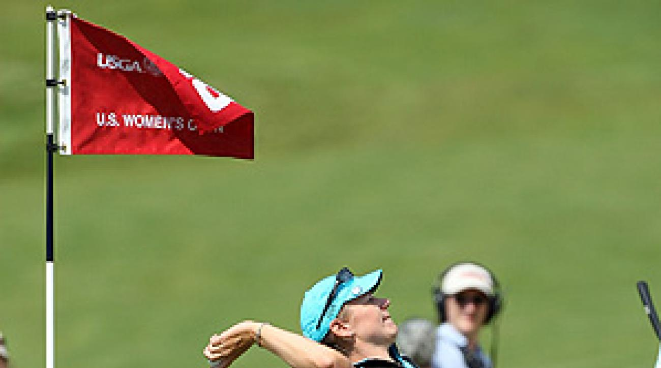 Sorenstam tossed her ball to the crowd after making eagle on the par-5 final hole.