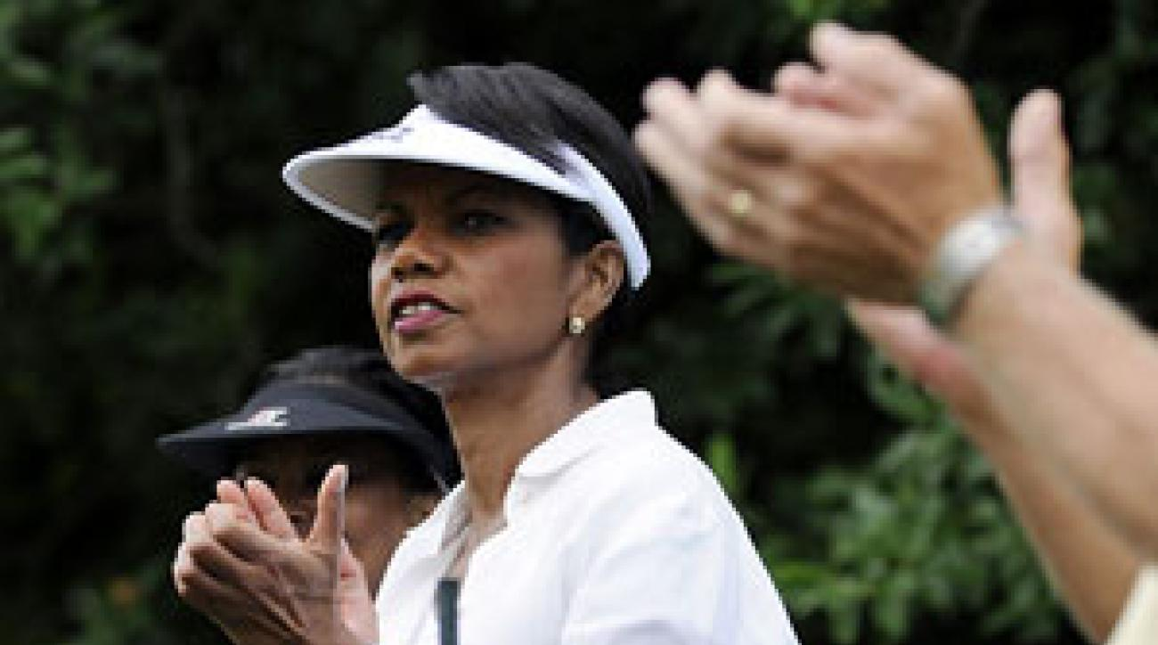 U.S. Secretary of State Condoleezza Rice, who is also an avid golfer, took in the action on Saturday.