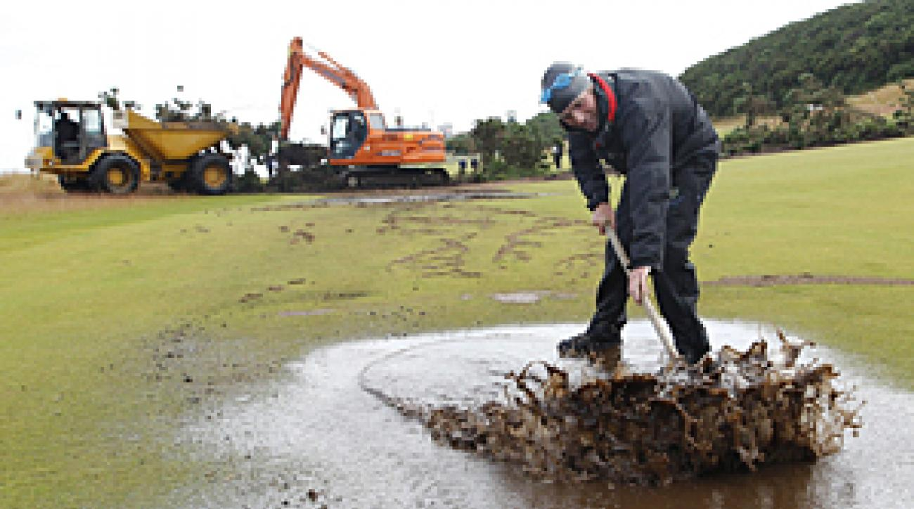 Overnight rains caused landslides and flooding at Castle Stuart.