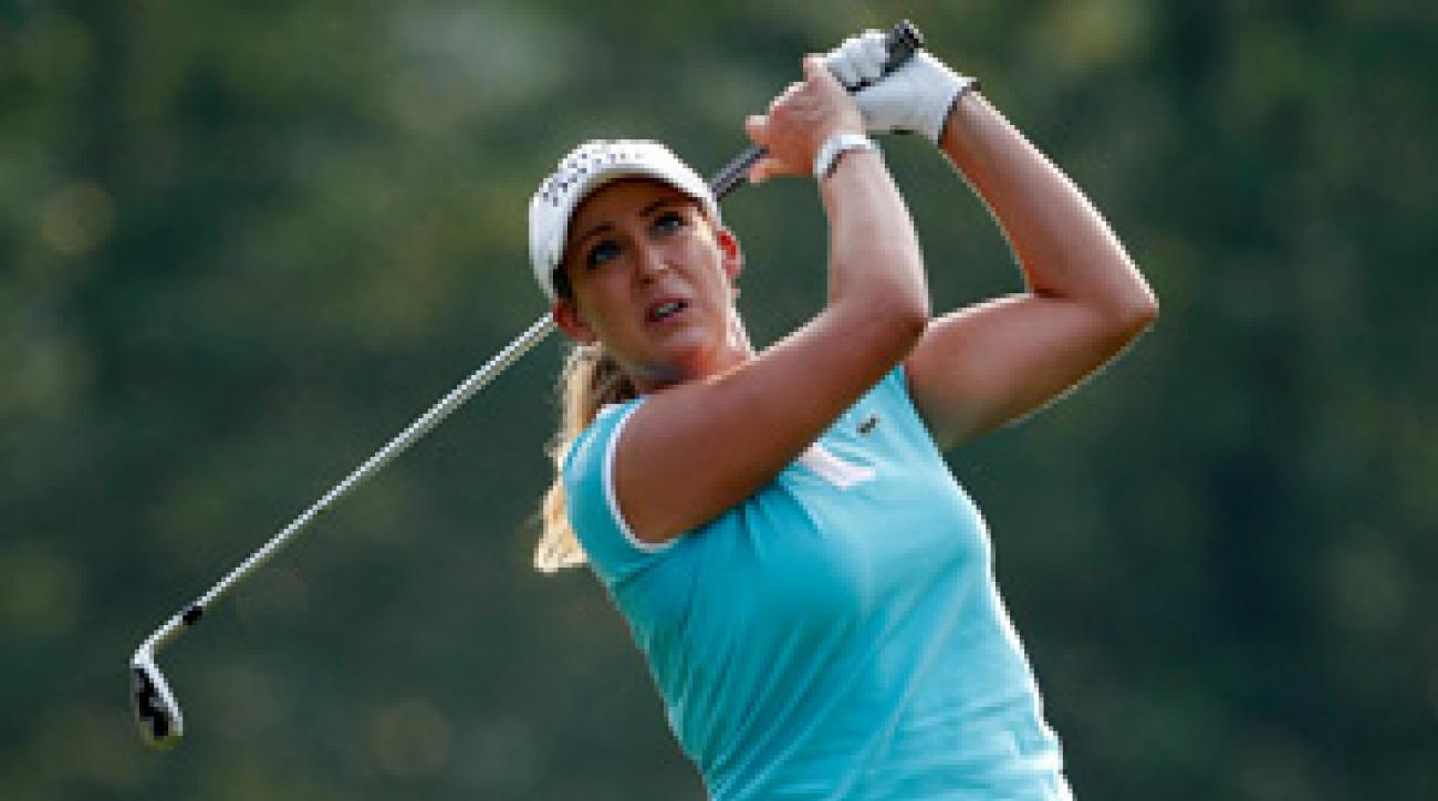 Cristie Kerr made three birdies on her second nine to shoot even par.
