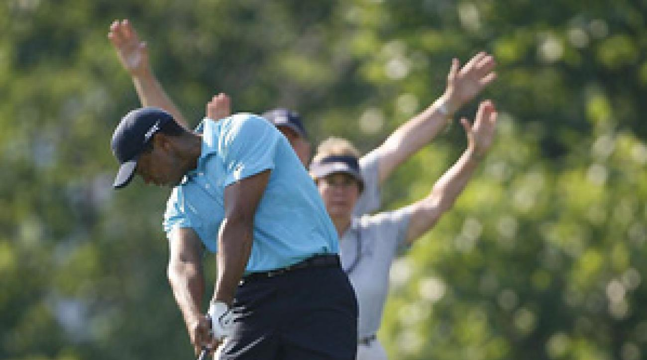 Tiger Woods hit nine of 14 fairways Saturday.