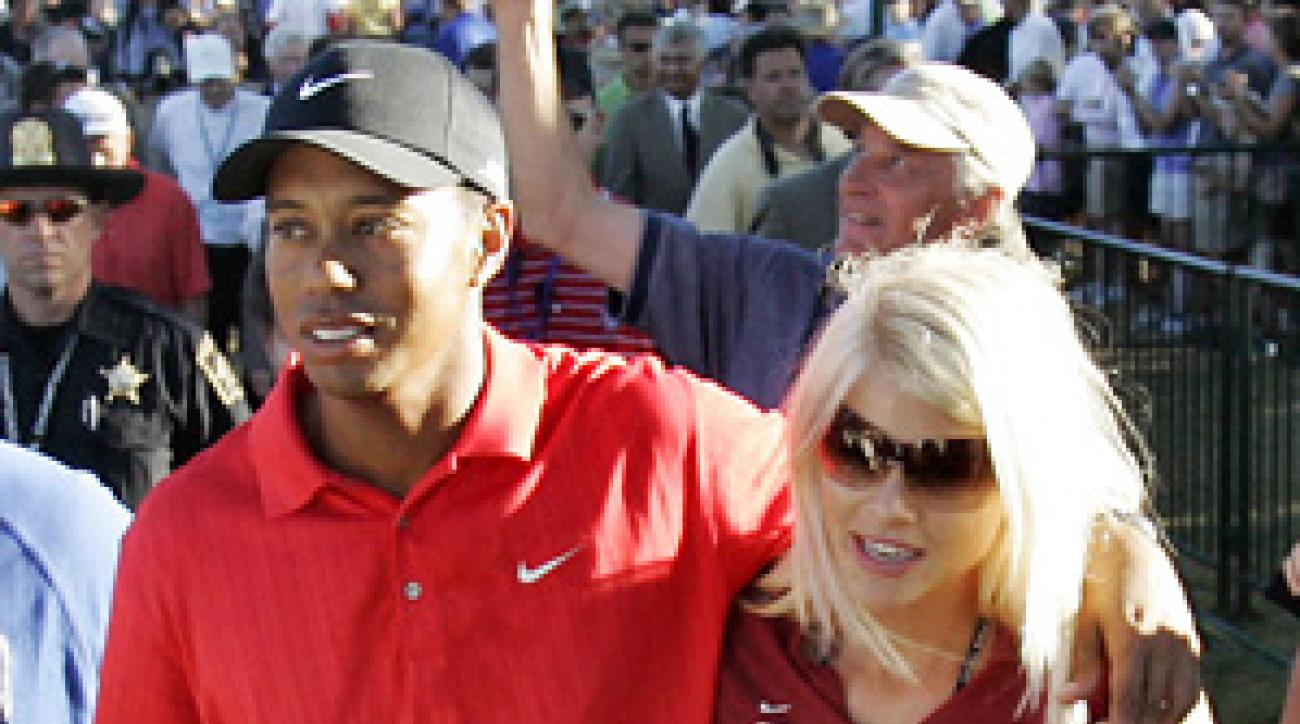 The proud parents: Tiger and Elin Woods.