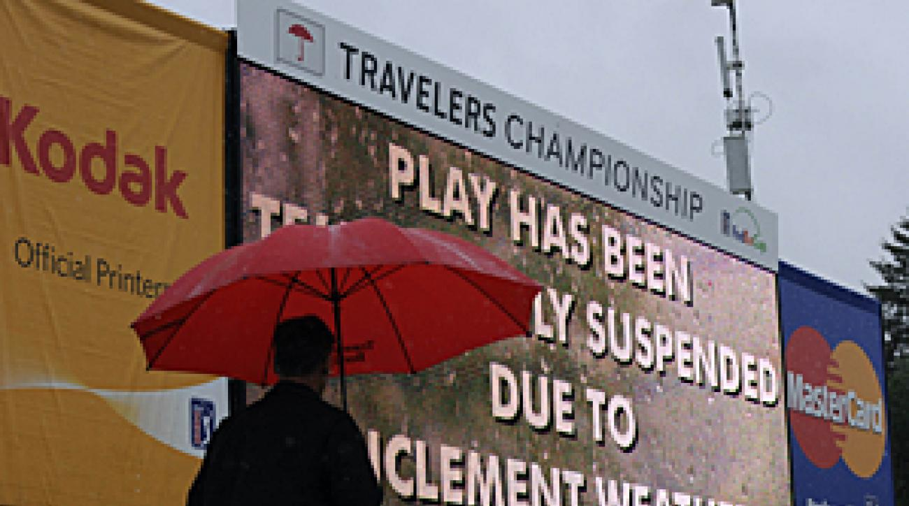 Heavy rain halted play around 11:30 a.m. on Thursday.