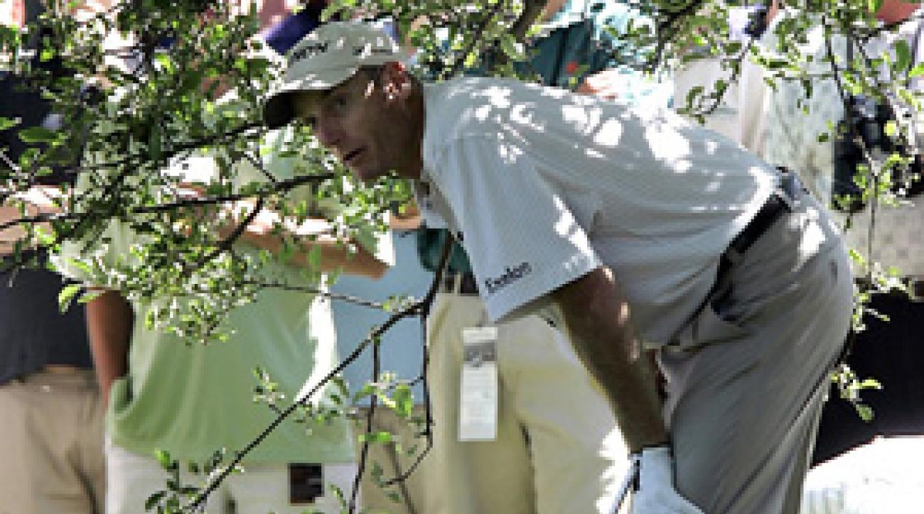 Jim Furyk found tree trouble on 16, but was able to save par.